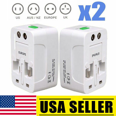 2PACK US to EU Europe and Universal AC Power Plug World Travel Adapter Converter