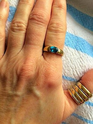 10k Yellow Gold And Blue Topaz Band Ring Size 7