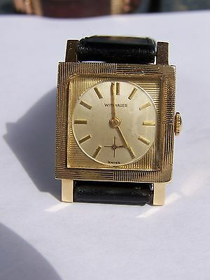 VINTAGE SOLID 14 K GOLD WITTNAUER 17 Jewels MENS WATCH