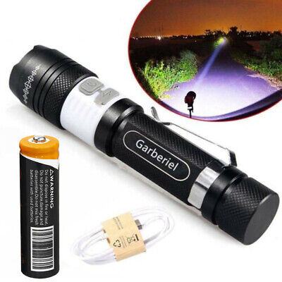 Tactical Police Zoomable LED T6 Rechargeable USB Flashlight -18650 Battery USA