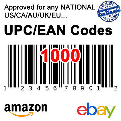 1000 UPC EAN Code Numbers Barcodes Bar Codes GS1 Approve for eBay Amazon US EU