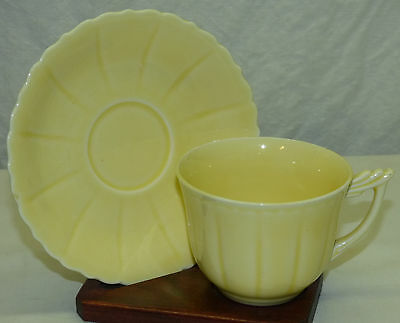 Old W-S- George Elmhurst Yellow Pastel Color Cup - Saucer Made in USA Set F