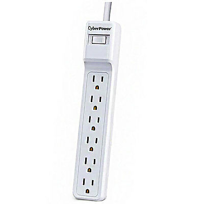 CyberPower 6 Outlet 500 Joules Surge Protector with 2ft- Cable  White