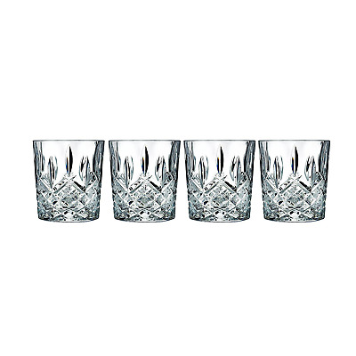 Vintage Crystal Whiskey Glasses Set of 4 Double Old Fashioned Scotch Glass