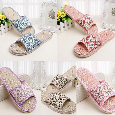 WomenMen Linen Floral Home Indoor Slipper Flax House Flat Open Toe Slippers