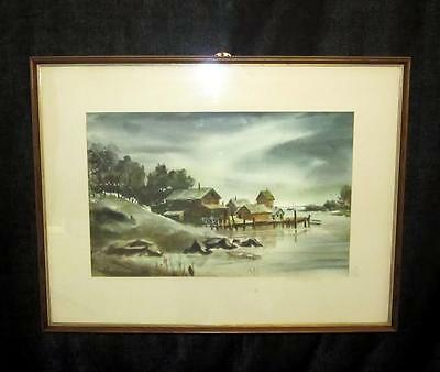 Vintage Watercolor Painting Signed O- L- Barris of Kittery Maine