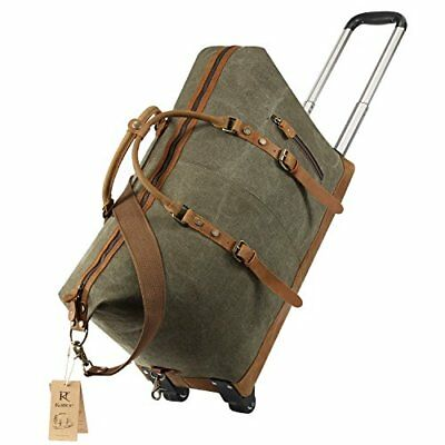 Kattee Luggage Rolling Duffel Bag Leather Trim Canvas Wheeled Carry-on Travel-