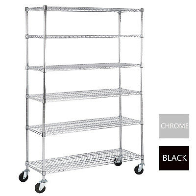 6 Tier Wire Shelving Rack 82x48x18 Heavy Duty Layer Steel Shelf Adjustable