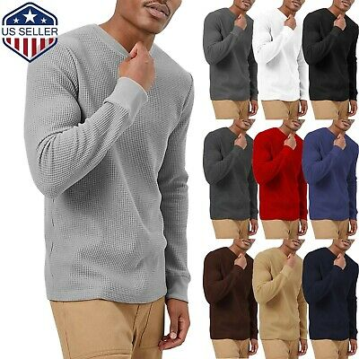 Mens Heavy T SHIRTS Long Sleeve Waffle Tee THERMAL Cotton Sweater Winter