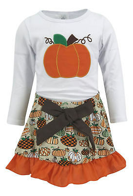 Girls Skirt Halloween Thanksgiving Fall Outfit Boutique Toddler Kid Clothes US