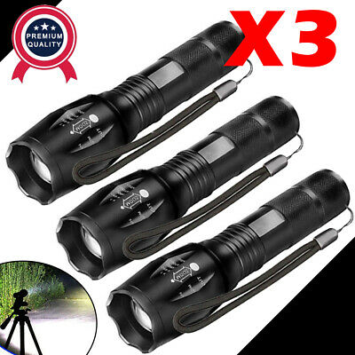 3 x Tactical 18650 Flashlight SWAT T6 LED High Powered 5Modes Zoomable Aluminum