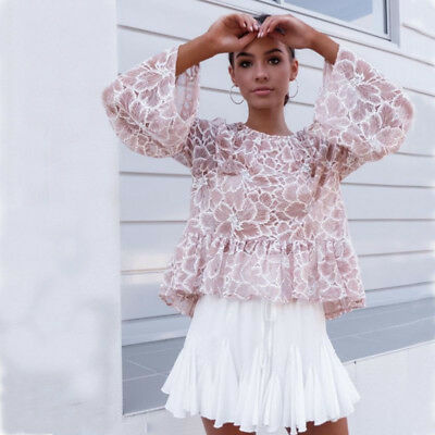 Sexy Long Sleeve lace Casual Blouse   Loose Tops T Shirt  Fashion Womens