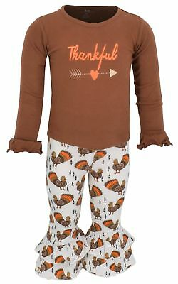 Girls Boutique Thankful Thanksgiving Outfit Kids Clothes 2t 3t 4t 5 6 7 8 Brown