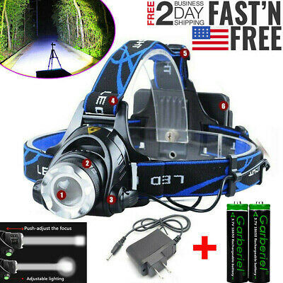 Tactical T6 LED Zoomable 18650 Headlamp Headlight Torch 2pc Battery-Charger USA