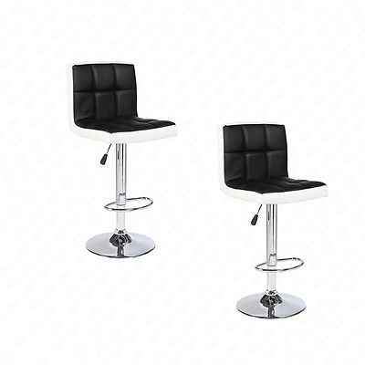 BN Set of 2 Bar Stools Leather Adjustable Swivel Pub Chair In Black and White
