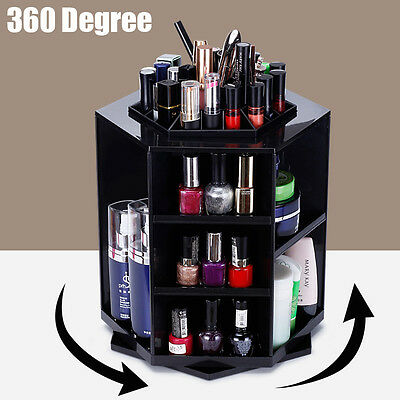 360° Rotating Cosmetic Organizer Makeup Display Storage Case Spinning Rack Gifts