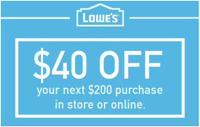 40 OFF 200 LOWES GIFT CARD savings at LOWES - 1-MINUTE DELIVERY TO EMAIL