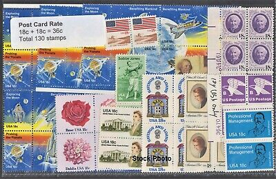 US Postage - 68 Post Card water-activated 20c-15c stamps Below Face Unused