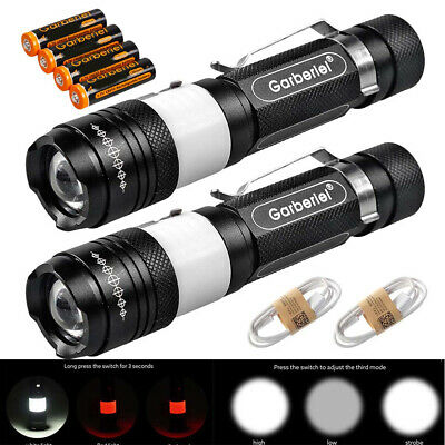 2pc Tactical Police T6 USB 18650 Zoomable LED Flashlight Torch Light -Battery