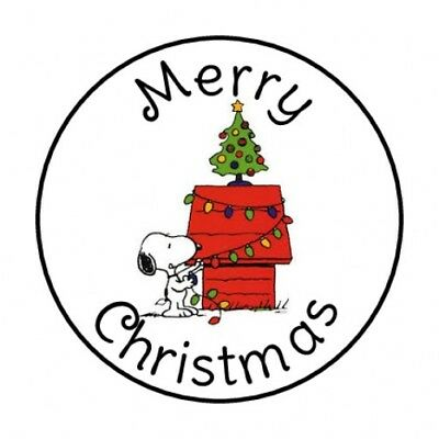 48 MERRY CHRISTMAS SNOOPY ENVELOPE SEALS LABELS STICKERS 1-2 ROUND