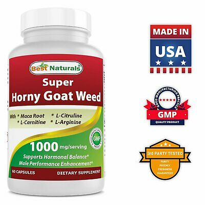 Best Naturals Horny Goat Weed with Maca Root 60 Capsules non gmo
