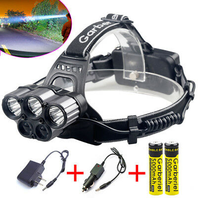 Tactical Headlight 5x T6 80000LM Rechargeable T6 LED Headlamp-Battery-Charger US