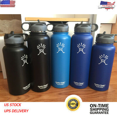 40oz Hydro Flask Insulated Stainless Steel Water Bottle Wide Mouth Straw Lid New
