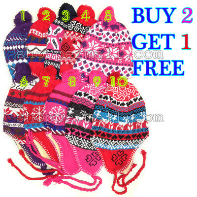 Women Girls Winter Peruvian Ear Flap Ski Hat Beanie Cap Warm BUY 2 GET 1 FREE