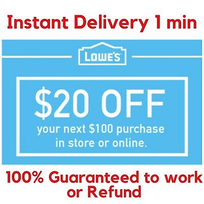 THREE Lowes 20 OFF 100 Discount Lowes ONLINE or INSTORE -FAST 1-Min Dlivery