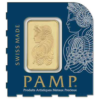1 gram Gold Bar - PAMP Suisse Lady Fortuna -9999 Fine In Assay from