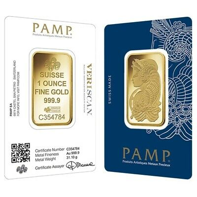 1 oz Gold Bar PAMP Suisse Lady Fortuna Veriscan -9999 Fine In Assay