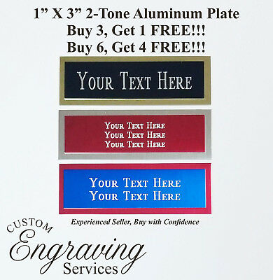 Engraved Plate 1x3 Custom TWO TONE Aluminum Trophy Plate Name Tag Plaque Art