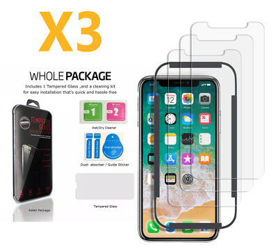 iPhone X 4K HD Tempered Glass Screen Protector with cleaning pad 3 Pack