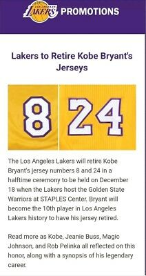 Lakers tickets 121817 Kobe Jersey Retirement game Suite tix