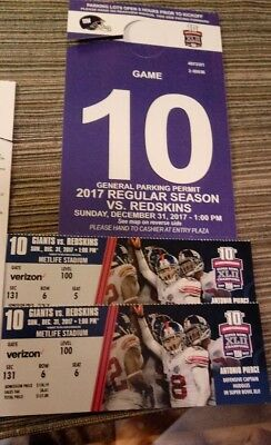 New York Giants vs Washington 2 adjacent lower level tickets - 1 parking pass