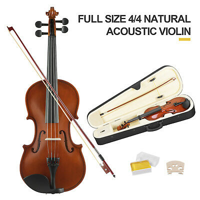 Full Size 44 Violin Handed Natural Acoustic Fiddle with case Bow Gs Tangerine