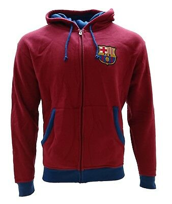 Fc Barcelona Zip Up Track Jacket Hoodie Men Burgundy Official Licensed
