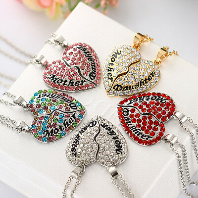 Mom Mother - Daughter Heart Rhinestone Pendant Necklace Charm Mothers Day Gift