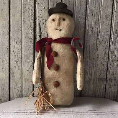Primitive Vintage Look Snowman Winter Christmas Frosty Holiday Handmade Grungy