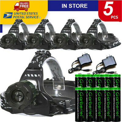 Tactical Military 20000LM T6 LED 18650 Rechargeable Headlamp Battery -Charger US