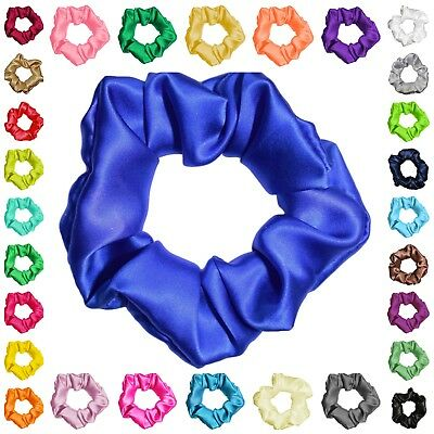 100 Silk Satin Hair Scrunchies Many Colors 3 Sizes Ponytail Holders Made in USA