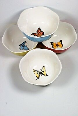 Lenox Butterfly Meadow 12 Ounce Bowls Cereal Dessert Set of 4 Pieces Porcelain