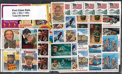 US Postage Below Face 94 each 25c stamps for New 50c rate Mint Original Gum