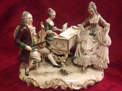 Dresden Lace Figurine Man With 2 Ladies Piano Violin