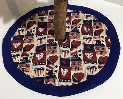 Patriotic  Fourth Of July Tree Skirt – 20 - Hearts - Homes - Custom-Made