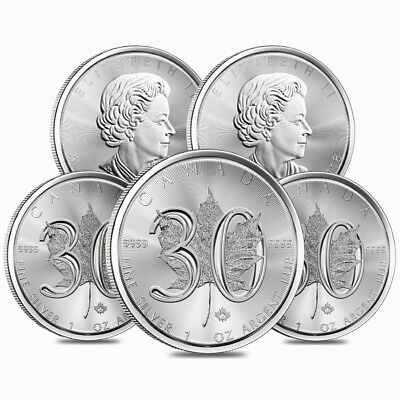 Lot of 5 - 2018 1 oz Silver Canadian Maple Leaf 30th Anniversary 5 Coin BU