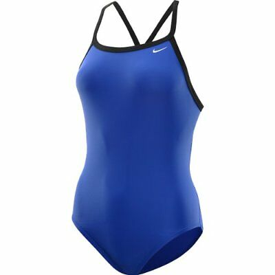 new Nike girls youth swimwear solid 1 pc- racer back swim suit- 4 colors-