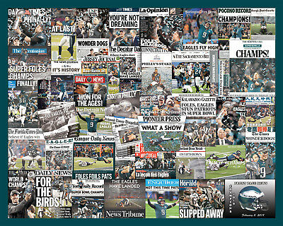 Philadelphia Eagles 2018 Superbowl Newspaper Collage Poster
