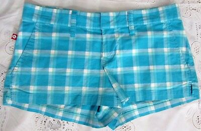 Hollister Co short shorts juniors misses size 0 cotton gingham checkered blues