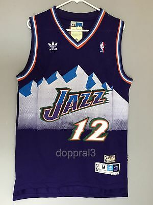 NWT John Stockton 12 NBA Utah Jazz Swingman Throwback Jersey Purple Man
